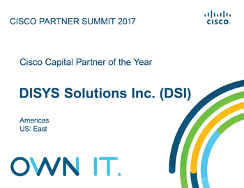 Capital Partner of the Year Americas East at 2017 Cisco Partner Summit