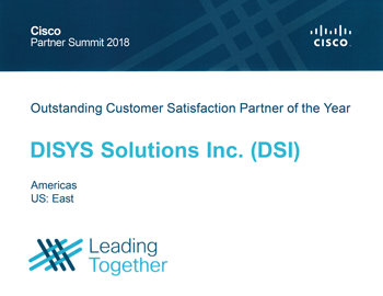 Outstanding Customer Satisfaction Partner of the Year at 2018 Cisco Partner Summit